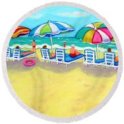 The Color Of Summer  Round Beach Towel
