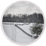 The Color Of Winter - Bw Round Beach Towel by Mary Carol Story