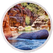 The Colors Of Oak Creek Round Beach Towel