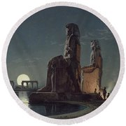 The Colossi Of Memnon, Thebes, One Round Beach Towel