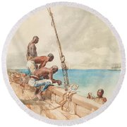 The Conch Divers Round Beach Towel