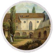 The Convent Courtyard Of Petits-augustins A Paris, C.1818 Oil On Canvas Round Beach Towel