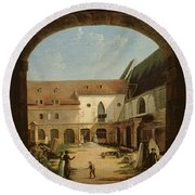 The Convent Courtyard Of Petits-augustins In Paris, C.1818 Oil On Canvas Round Beach Towel