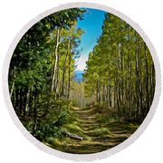 Round Beach Towel featuring the painting The Cool Path Through Arizona Aspens by John Haldane