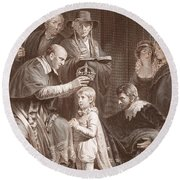 The Coronation Of Henry Vi, Engraved Round Beach Towel by John Opie
