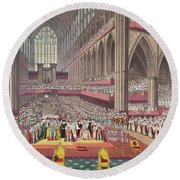 The Coronation Of King William Iv And Queen Adelaide, 1831 Colour Litho Round Beach Towel by English School