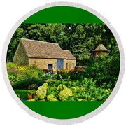 The Cotswald Barn And Dovecove Round Beach Towel by Daniel Thompson