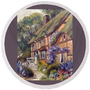 Round Beach Towel featuring the painting The Cottage by Donna Tucker