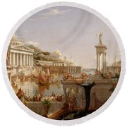 The Course Of Empire Consummation  Round Beach Towel