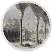 The Court Of The Mosque Of Sultan Round Beach Towel