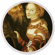 The Courtesan And The Old Man, C.1530 Oil On Canvas Round Beach Towel