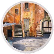The Courtyard Round Beach Towel