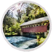 The Covered Bridge At The Red Mill Round Beach Towel