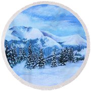 Round Beach Towel featuring the painting The Covering by Margaret Bobb