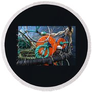 Crab Ring Round Beach Towel