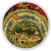 The Creation, From The Lutheran Bible Round Beach Towel