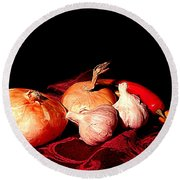 New Orleans Onions, Garlic, Red Chili Pepper Used In Creole Cooking A Still Life Round Beach Towel