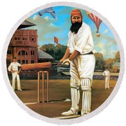 The Cricketers Round Beach Towel by Peter Green