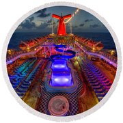 The Cruise Lights At Night Round Beach Towel
