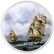 The Cutty Sark And The Red Clipper Round Beach Towel