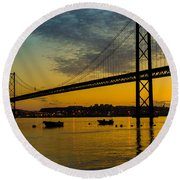 The Dawn Of Day I Round Beach Towel by Marco Oliveira
