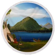 Round Beach Towel featuring the painting Dawn Of Tohidu by Sheri Keith