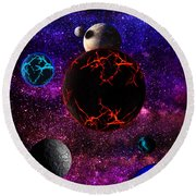 The Dead Solar System  Round Beach Towel by Naomi Burgess