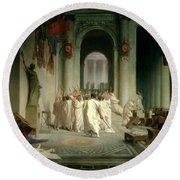 The Death Of Caesar Round Beach Towel