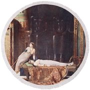 The Death Of Cleopatra, Illustration Round Beach Towel