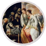 The Death Of Saint Clare Round Beach Towel