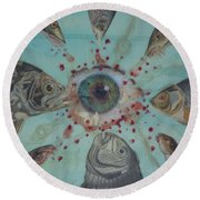 Round Beach Towel featuring the mixed media The Death Of Vision by Douglas Fromm