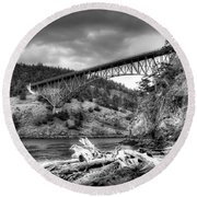 The Deception Pass Bridge II Bw Round Beach Towel
