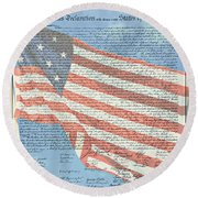 The Declaration Of Independence - Star-spangled Banner Round Beach Towel