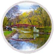 The Delaware Canal Near New Hope Pa In Autumn Round Beach Towel