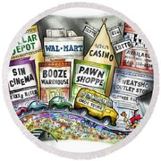 The Delights Of Modern Civilization Round Beach Towel