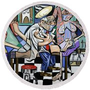 Round Beach Towel featuring the painting The Dentist Is In by Anthony Falbo