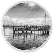 The Dock Round Beach Towel by Howard Salmon