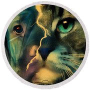 The Dog Connection -green Round Beach Towel
