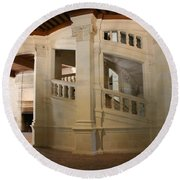 The Double-helix Staircase Chateau Chambord - France Round Beach Towel