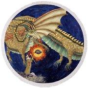 The Dragon King Round Beach Towel by Lynda Hoffman-Snodgrass