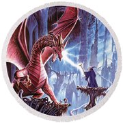 The Dragons Lair Round Beach Towel