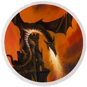 The Dragon's Tower Round Beach Towel