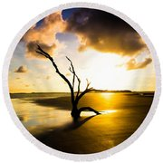 The Driftwood Tree Folly Beach Round Beach Towel