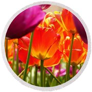 The Drooping Tulip Round Beach Towel