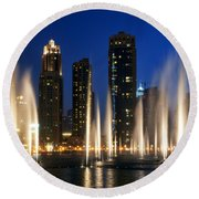 The Dubai Fountains Round Beach Towel