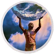 The Earth Is In Our Hands Round Beach Towel
