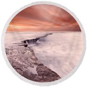 The Edge Of Earth Round Beach Towel