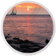 The Edith Becker Sunset Cruise Round Beach Towel