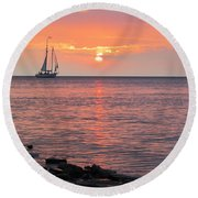 Round Beach Towel featuring the photograph The Edith Becker Sunset Cruise by David T Wilkinson
