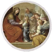 The Education Of The Virgin, 1658 Oil On Canvas Round Beach Towel